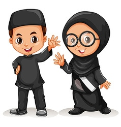 Muslim boy and girl in black costume vector