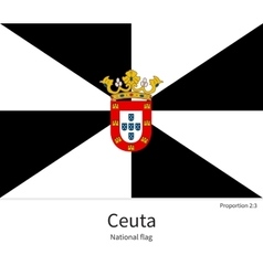 National flag of Ceuta with correct proportions vector image