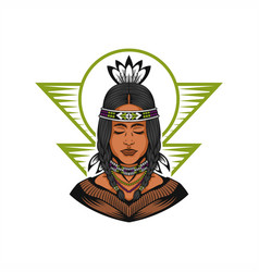 Native american beautiful girl vector