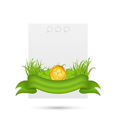 Natural card with coin shamrocks grass ribbon vector image