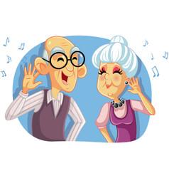 Old senior couple listening to music cartoon vector