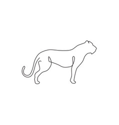 one continuous line drawing dangerous cheetah vector image