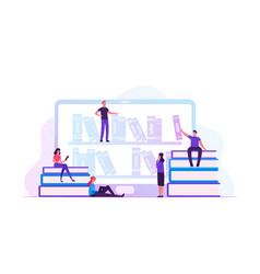 online library concept people reading e-books and vector image