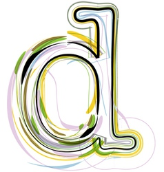 Organic Font letter d vector
