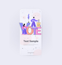 people voters making decisions and putting paper vector image