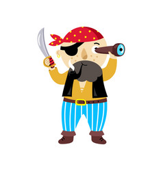 pirate character with sword icon vector image vector image