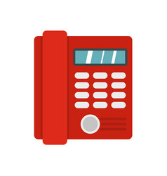 Red classic business office phone icon flat style vector