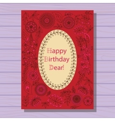 Red happy birthday dear card on wooden background vector