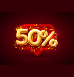 sale 50 off ballon number on red background vector image
