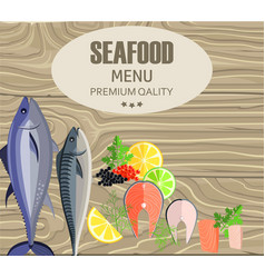 Seafood restaurant menu with fish on cutting board vector