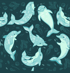 seamless pattern with dolphins and sea elements vector image
