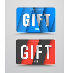 set of gift cards in the style of material design vector image