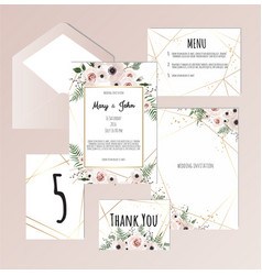 set of vintage floral wedding invitation vector image