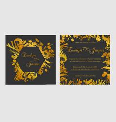 Set of wedding invitations on a dark black gray vector