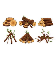 set of woodpile brushwood firewood hut stacks vector image