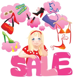 Shopping Girl Making Decision What To Buy vector