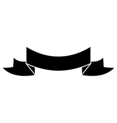 Silhouette black ribbon banner icon vector