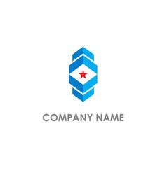 square abstract shape star company logo vector image