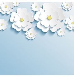 Stylish wallpaper with 3d flowers sakura blossom vector