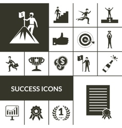 Success Icons Black Set vector image