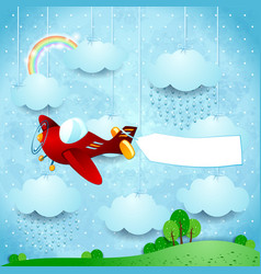 Surreal landscape with airplane banner and rain vector