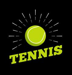 tennis sport ball logo icon sun burtst print hand vector image