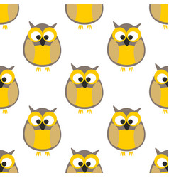 Tile pattern with yellow owls on white background vector