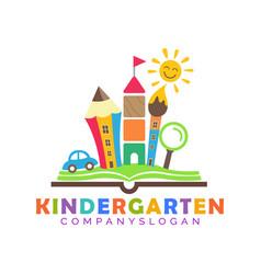 Town mascot kindergarten logo vector