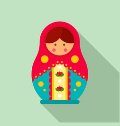 Traditional russian nesting doll icon flat style vector