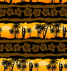 Tropical frangipani with palms sunrise seamless vector image