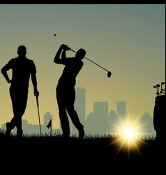 Two golfers silhouette playing on playground vector