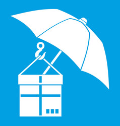 Umbrella and a cardboard box icon white vector