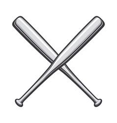 Vintage grayscale baseball bats crossed vector