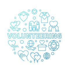 Volunteering round blue in vector