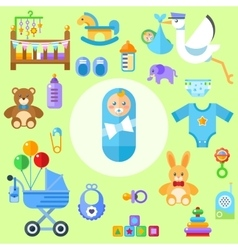 Waiting for a baby all the newborn boy stuff vector