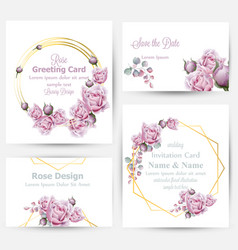 Watercolor rose flowers cards set collection vector