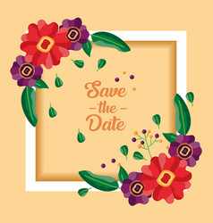 wedding save date flowers card vector image