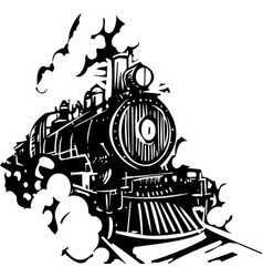 woodcut locomotive vector image