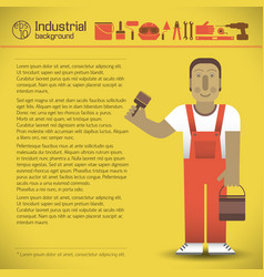 workman and tools yellow background vector image