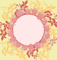 Wreath with leaves Round banner for text raspberry vector