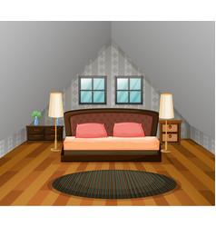 bedroom scene with wooden floor vector image vector image