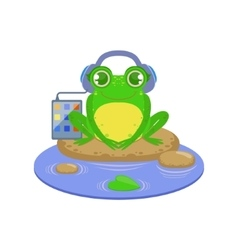 Cartoon Frog Character Listening the Music vector image