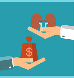 concept of organ transplant buying kidneys hand vector image