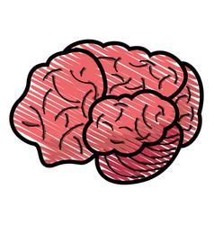 Drawing brain human idea concept vector