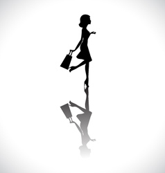 Shopping girl silhouette vector image vector image