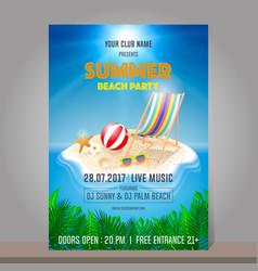 summer beach party design template season vector image