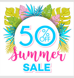 summer sale background with tropical palm leaves 4 vector image vector image