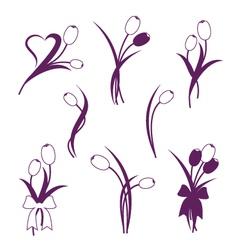 Tulip design elements vector image vector image