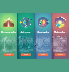 earth planet science banner set seismography vector image vector image