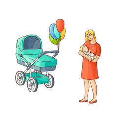 flat girl standing near stroller with baby vector image vector image